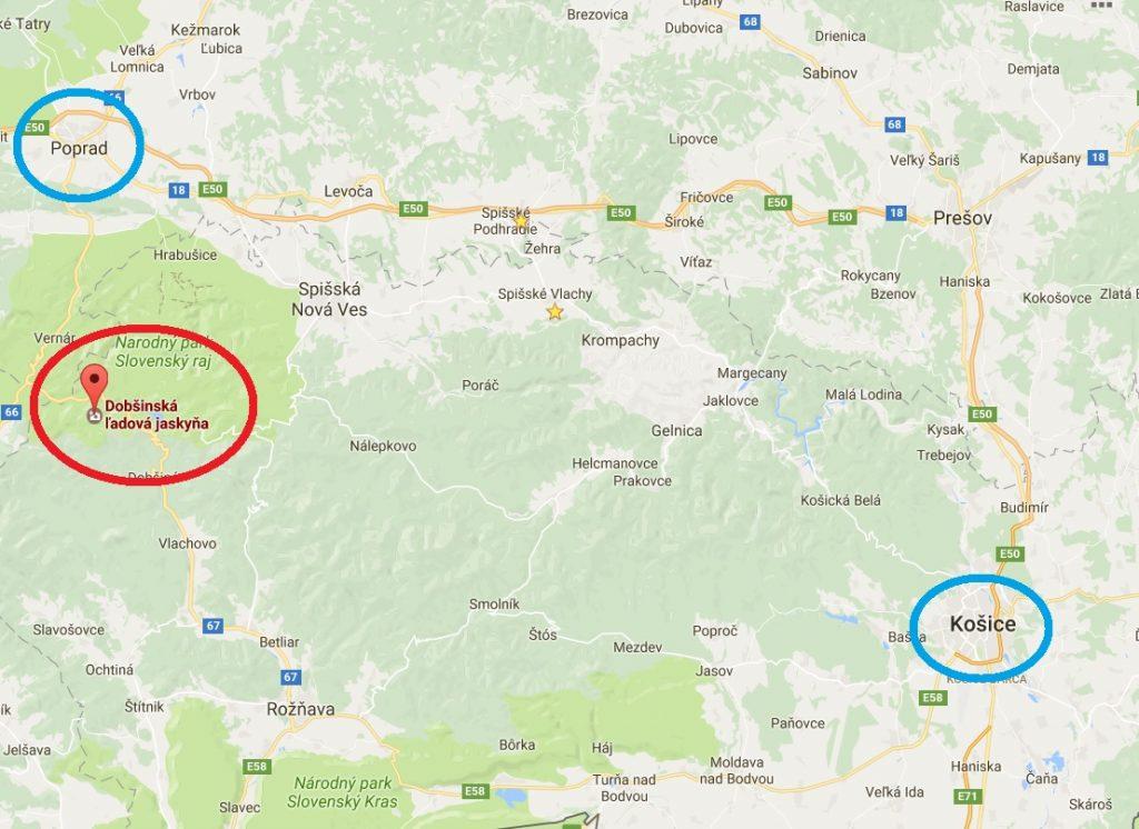 コシツェ、ポプラド、ドブシンスカの氷穴の位置関係